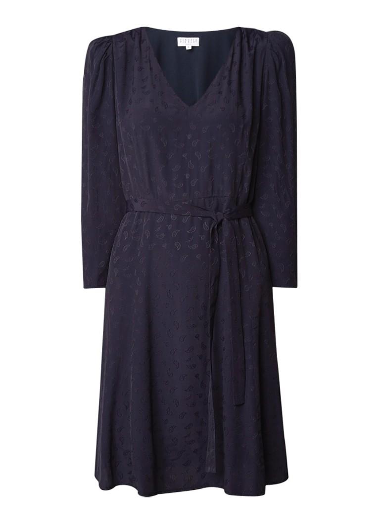 Claudie Pierlot Raphael midi-jurk met paisley dessin en strikceintuur donkerblauw