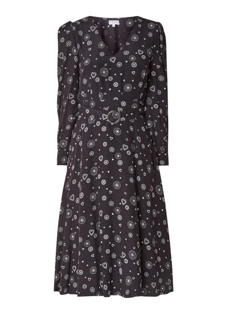 Claudie Pierlot Romani midi-jurk van zijde met dessin en ceintuur zwart
