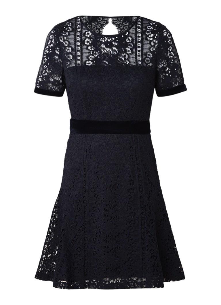 Claudie Pierlot Rizzo A-lijn jurk van kant met rugdecolleté donkerblauw