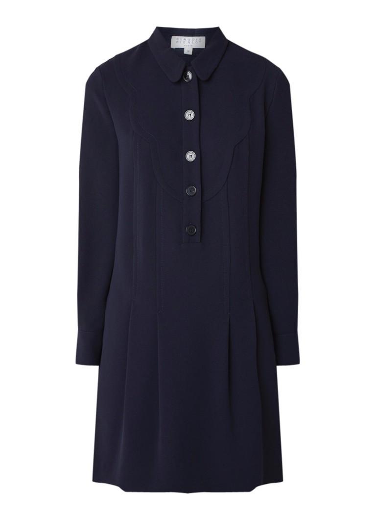Claudie Pierlot Rayonnante blousejurk van crêpe donkerblauw