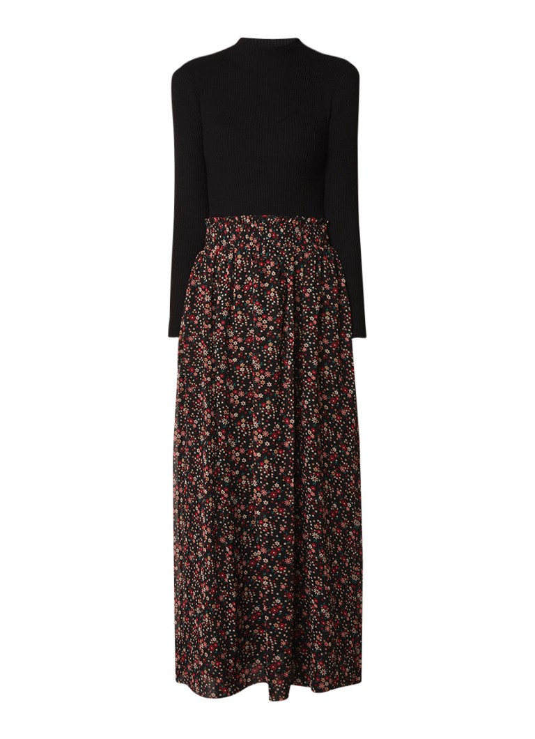 Claudie Pierlot Mariveau maxi-jurk met gebreide top en rok met bloemendessin zwart