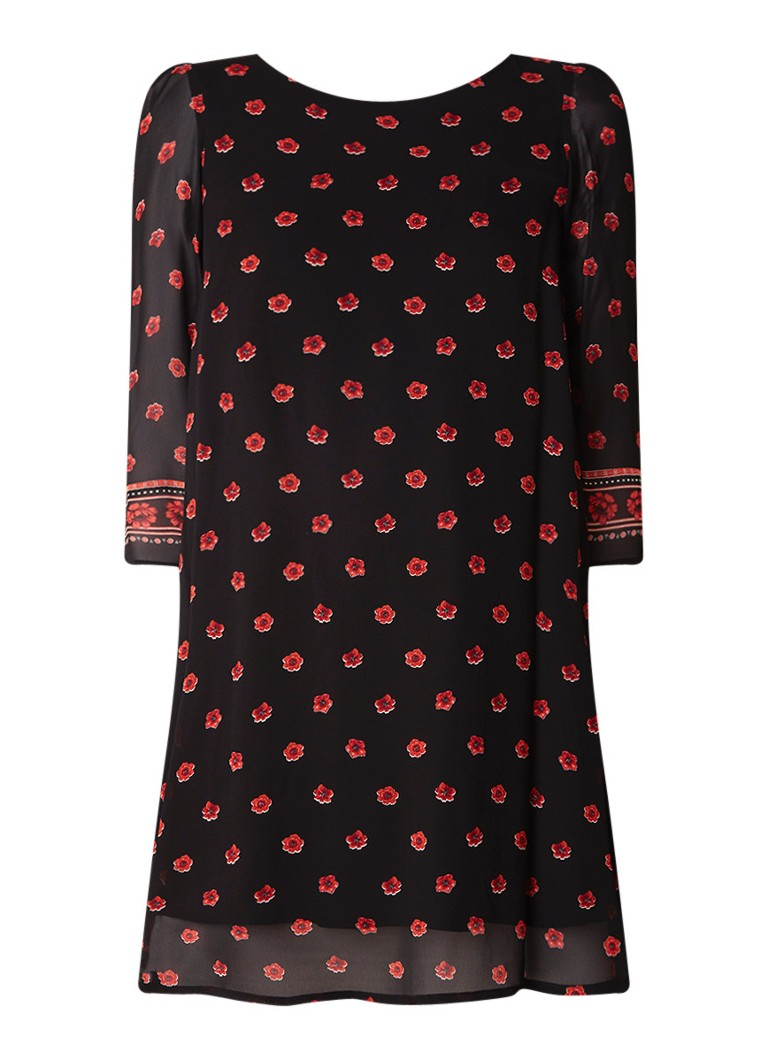 Claudie Pierlot Rififi loose fit mini-jurk met bloemendessin zwart
