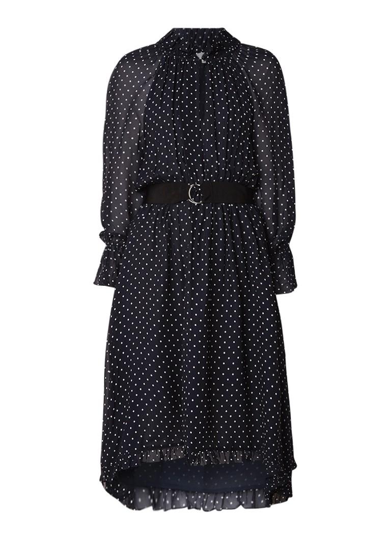 Claudie Pierlot Romilly Bis asymmetrische A-lijn jurk met stippendessin donkerblauw