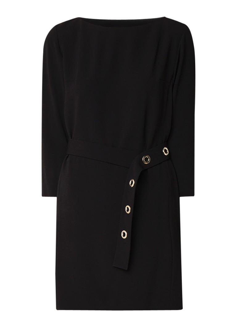 Claudie Pierlot Rocaille mini-jurk van crêpe met ceintuur zwart