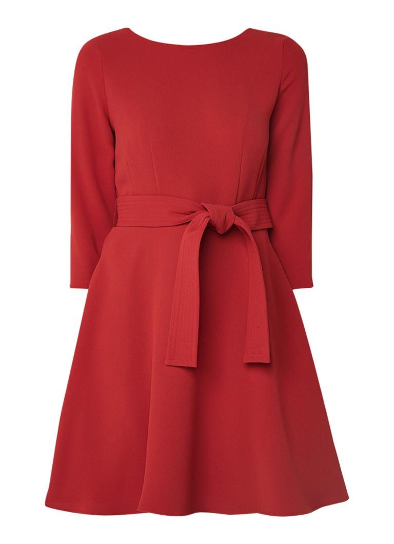 Claudie Pierlot Roselie A-lijn jurk van crêpe met ceintuur rood
