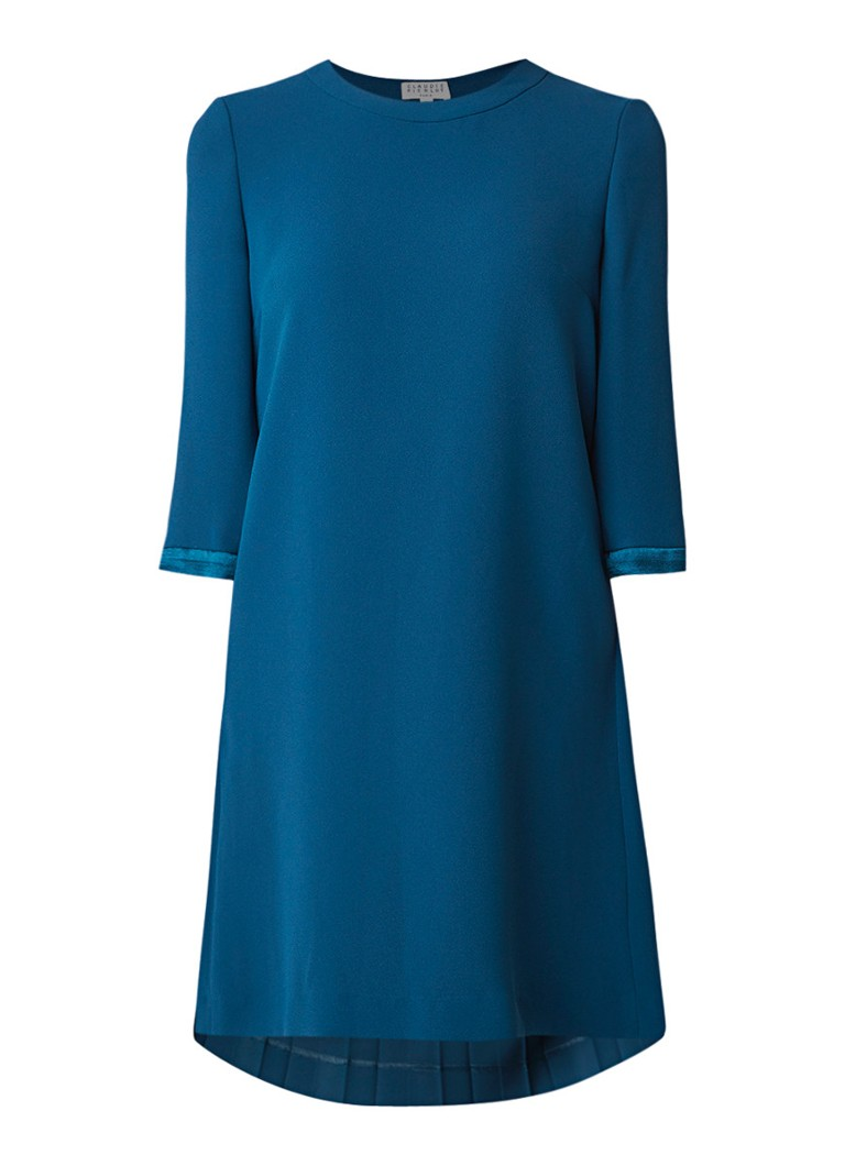 Claudie Pierlot Ribambelle loose fit mini-jurk met geplisseerd achterpand turquoise