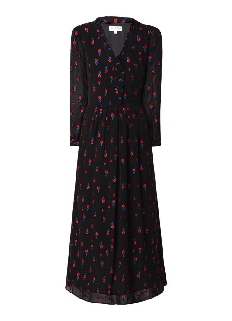 Claudie Pierlot Ripieno maxi blousejurk met bloemendessin zwart