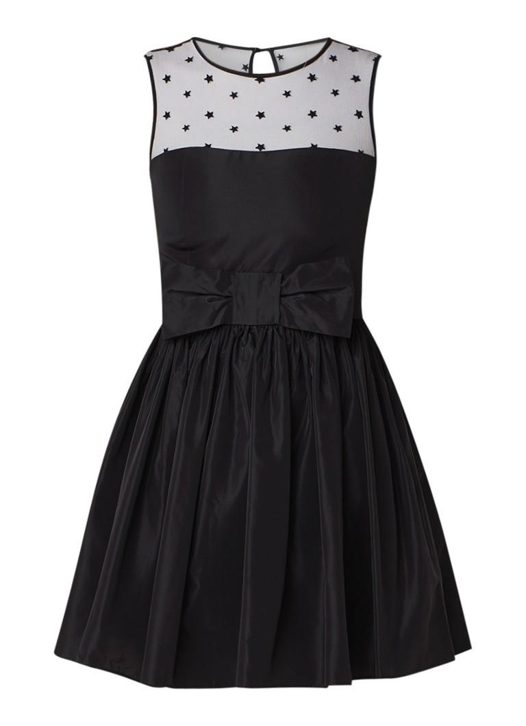 Claudie Pierlot Ralli mini A-lijn jurk met inzet van mesh en strikdetail zwart