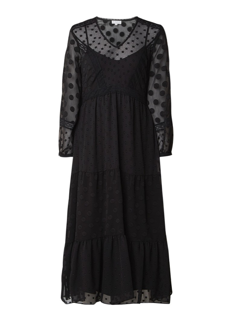Claudie Pierlot Ronnie semi-transparante tuniekjurk met ingeweven dessin zwart