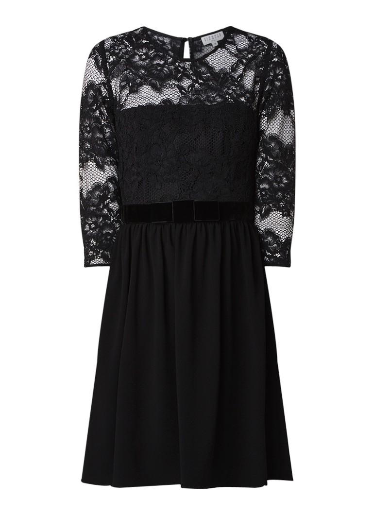 Claudie Pierlot Raia A-lijn jurk met kant en ceintuur van fluweel zwart