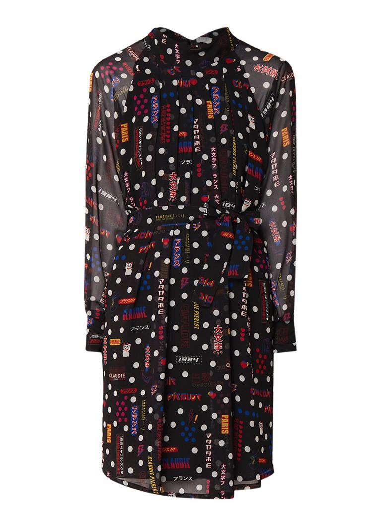 Claudie Pierlot Reis loose fit mini-jurk met dessin en ceintuur zwart