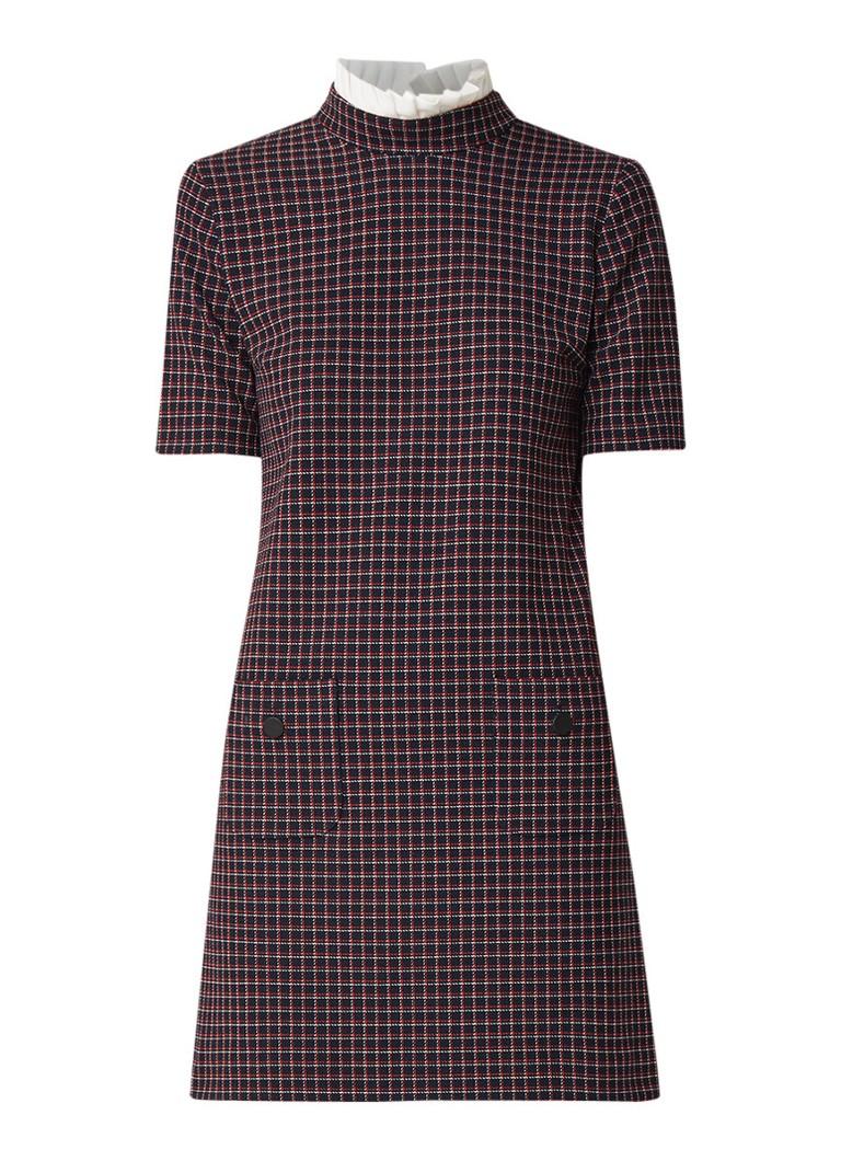 Claudie Pierlot Retour mini A-lijn jurk met ruitdessin en kraag donkerblauw