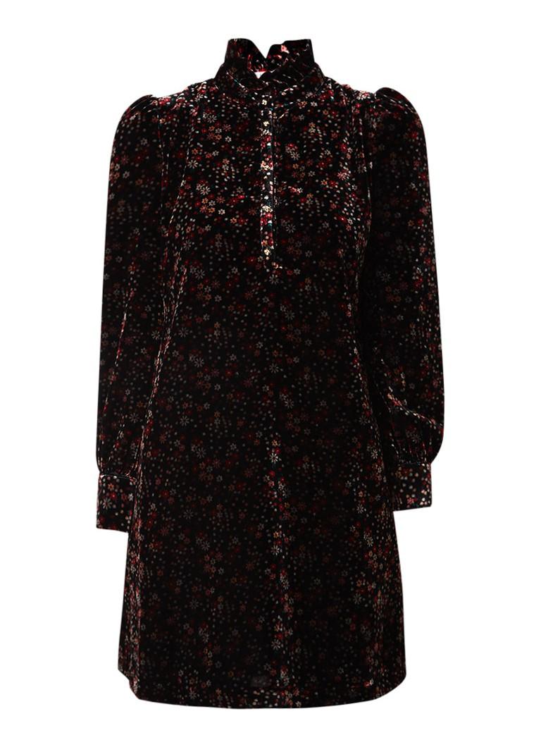 Claudie Pierlot Rodez mini blousejurk van velours met bloemendessin multicolor