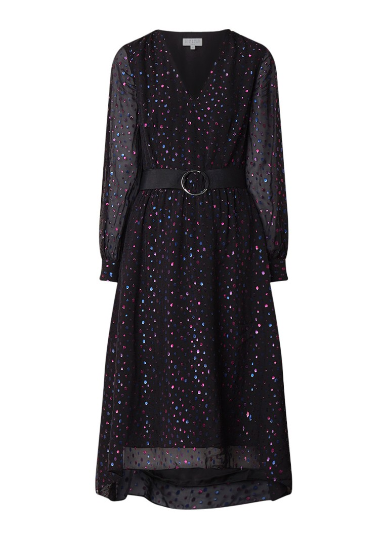 Claudie Pierlot Ripoline midi-jurk met glanzend dessin zwart