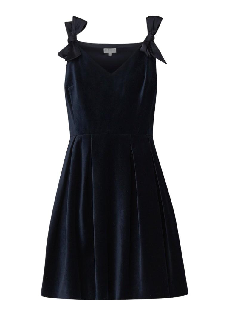Claudie Pierlot Rimy mini-jurk van fluweel met strikdetails donkerblauw