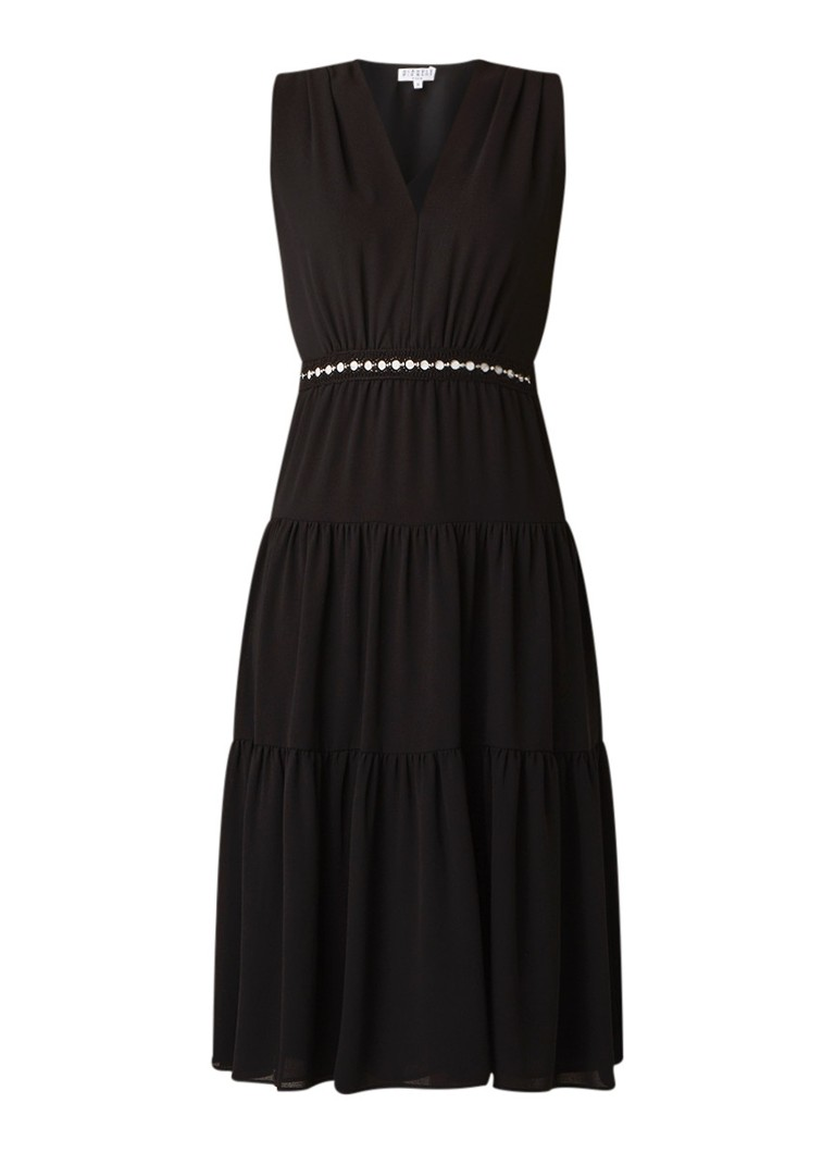 Claudie Pierlot Radcko mouwloze midi-jurk met plooidetails zwart