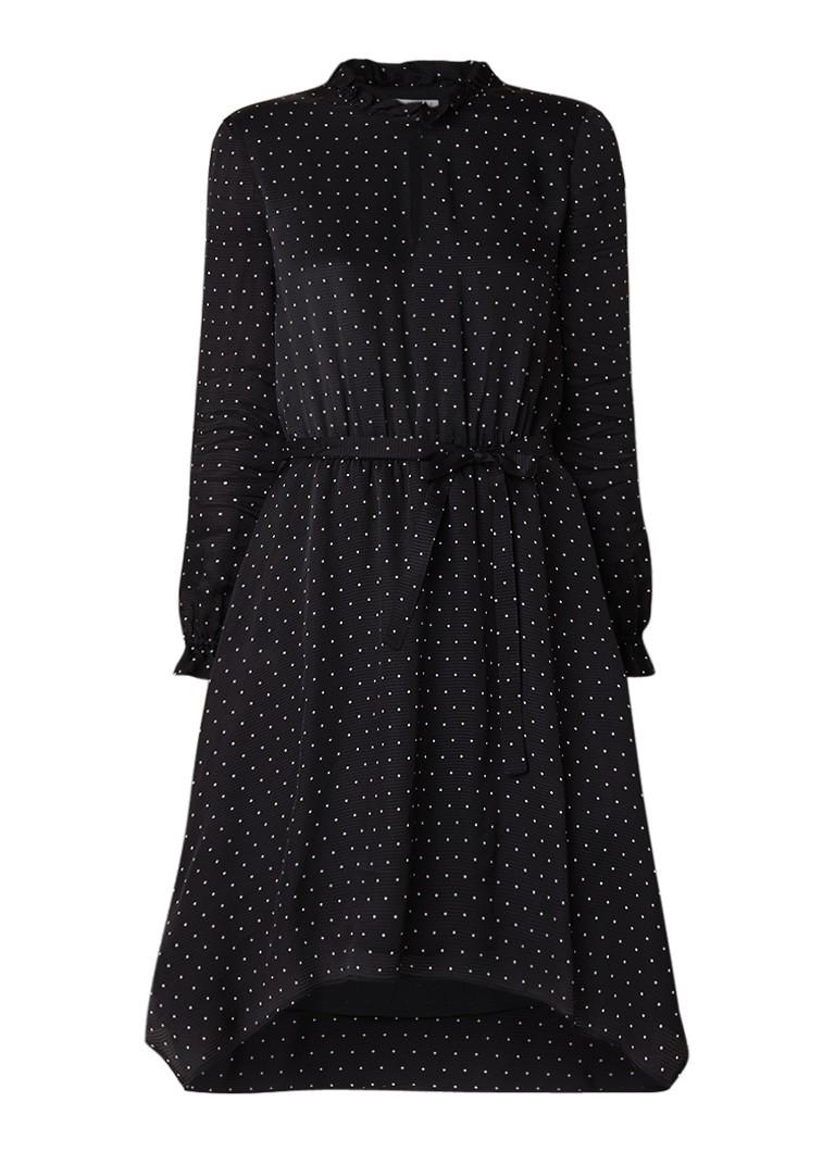 Claudie Pierlot Rahia gestipte A-lijn jurk met strikceintuur en ruches zwart