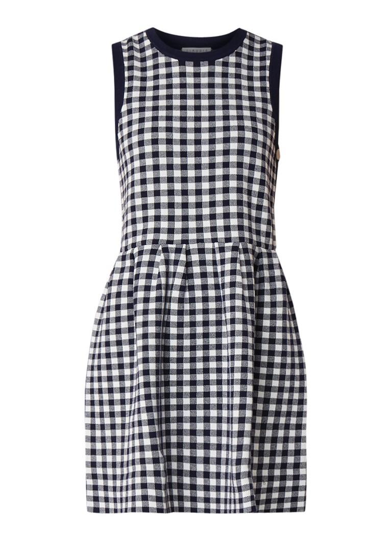 Claudie Pierlot Mirabel mini-jurk in katoenblend met ruitdessin donkerblauw