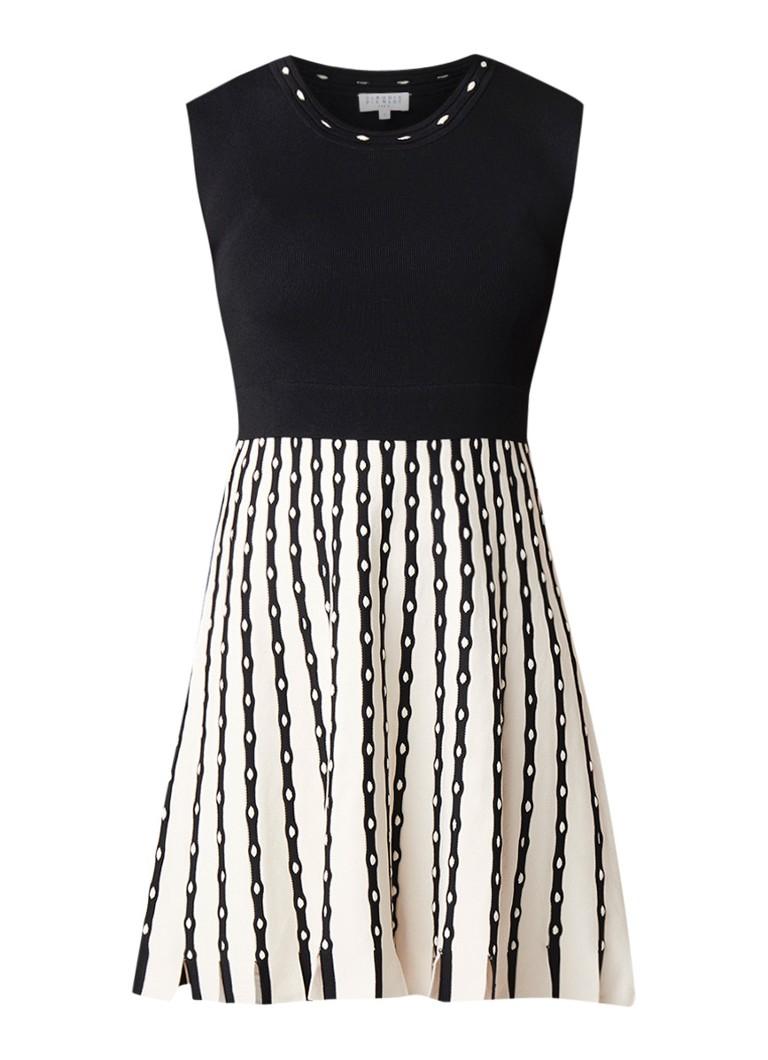 Claudie Pierlot Motel fijngebreide A-lijn jurk met gestreept dessin zwart