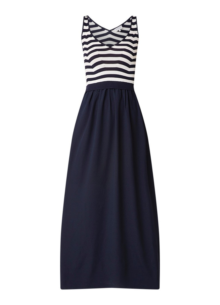 Claudie Pierlot Minto mouwloze maxi-jurk met streepdessin donkerblauw