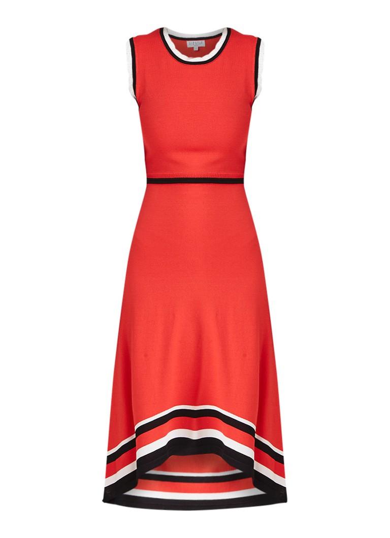 Claudie Pierlot Melisse midi-jurk met gestreepte bies koraalrood