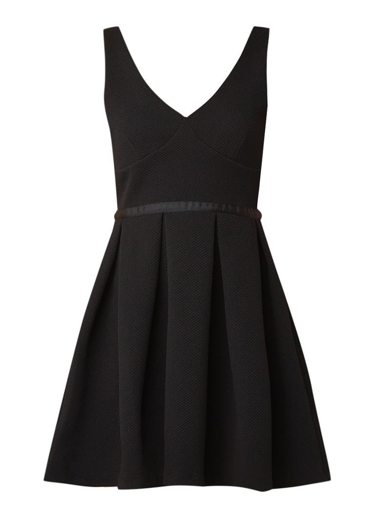 Claudie Pierlot Mini-jurk met structuur en V-hals zwart