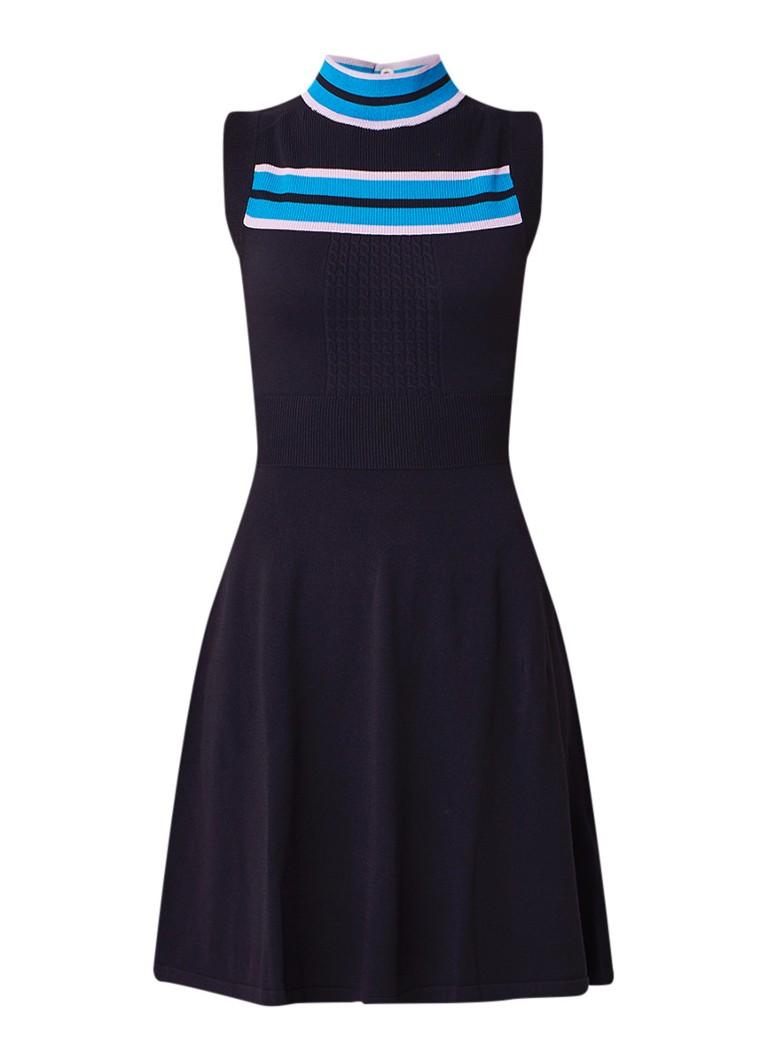 Claudie Pierlot Muriel fijngebreide midi-jurk met rugdecolleté donkerblauw