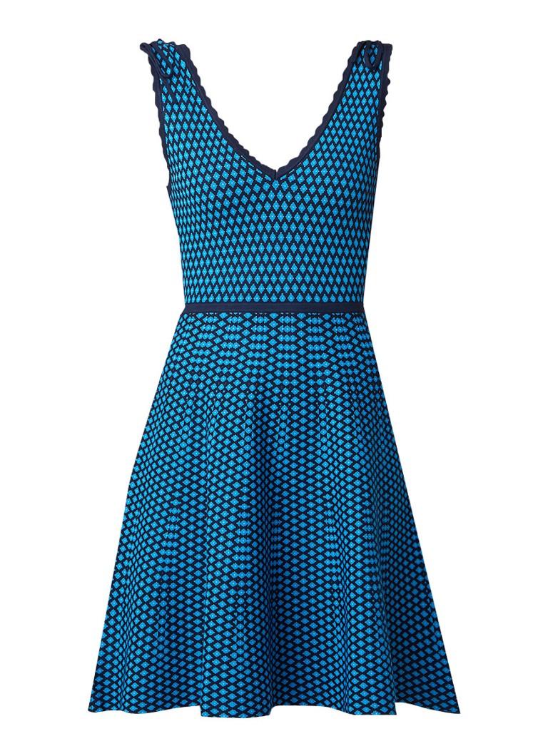 Claudie Pierlot Gebreide A-lijn jurk met dessin blauw