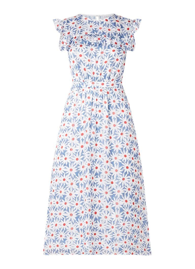 Claudie Pierlot Rossa A-lijn jurk met bloemendessin royalblauw