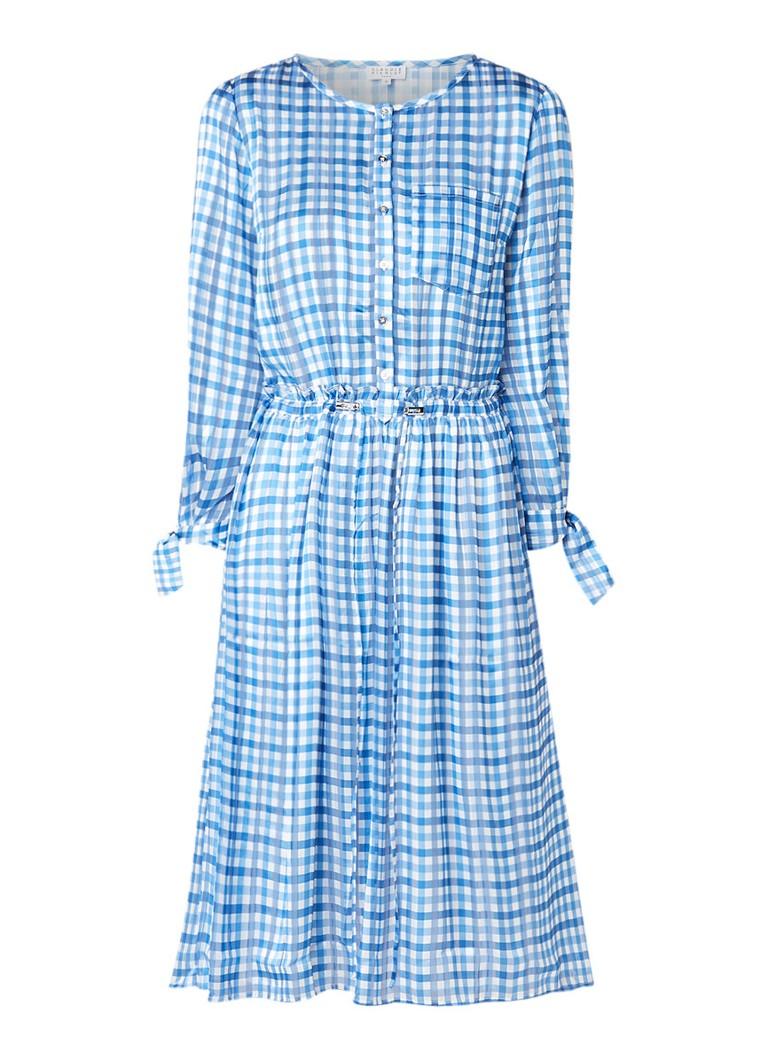 Claudie Pierlot Reinette A-lijn jurk met blokruitdessin lichtblauw