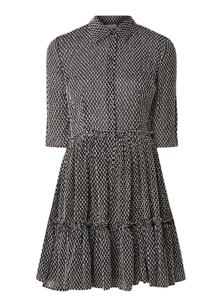 Claudie Pierlot Randall A-lijn blousejurk met geborduurd dessin zwart