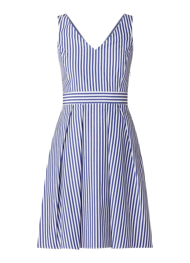 Claudie Pierlot A-lijn jurk met streepdessin en strik aan achterzijde royalblauw