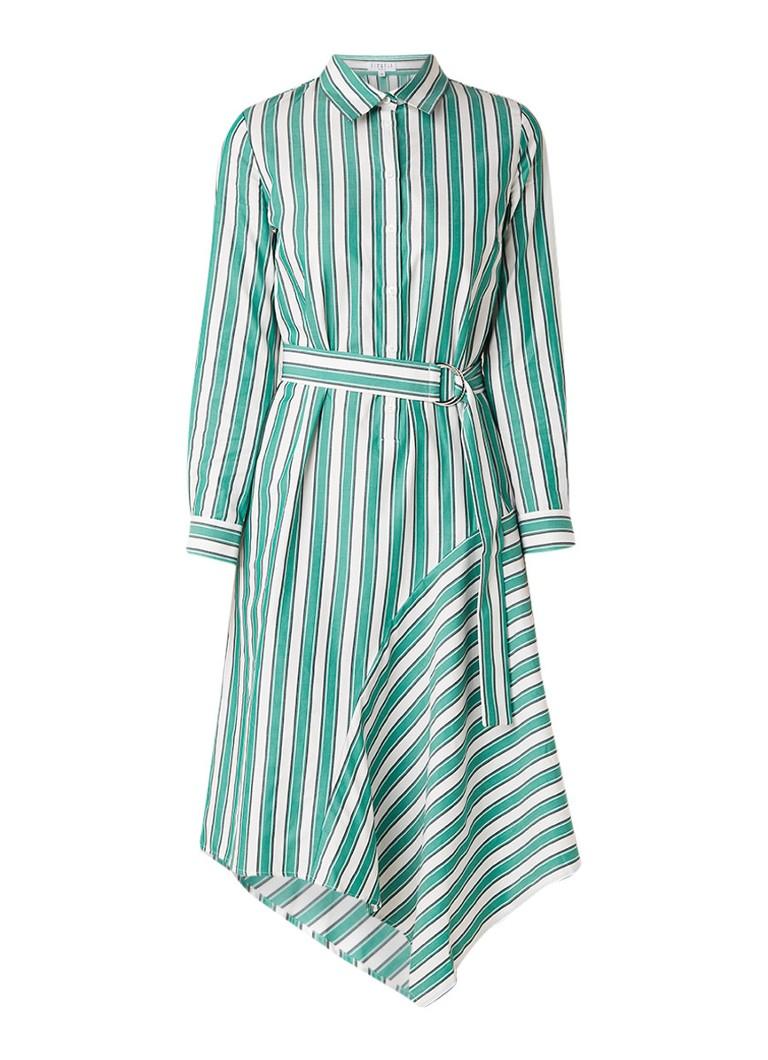 Claudie Pierlot Rickle midi blousejurk met streepdessin groen
