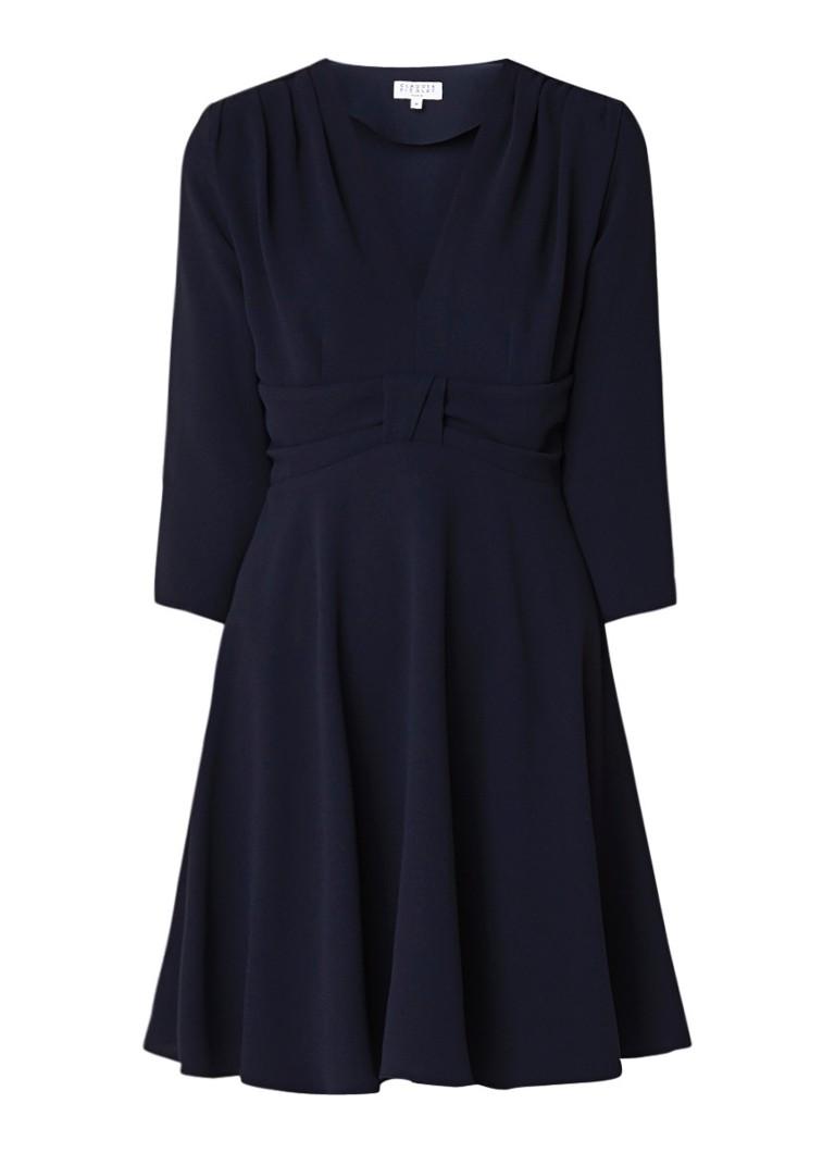 Claudie Pierlot Raina A-lijn jurk van crêpe met strikdetail donkerblauw