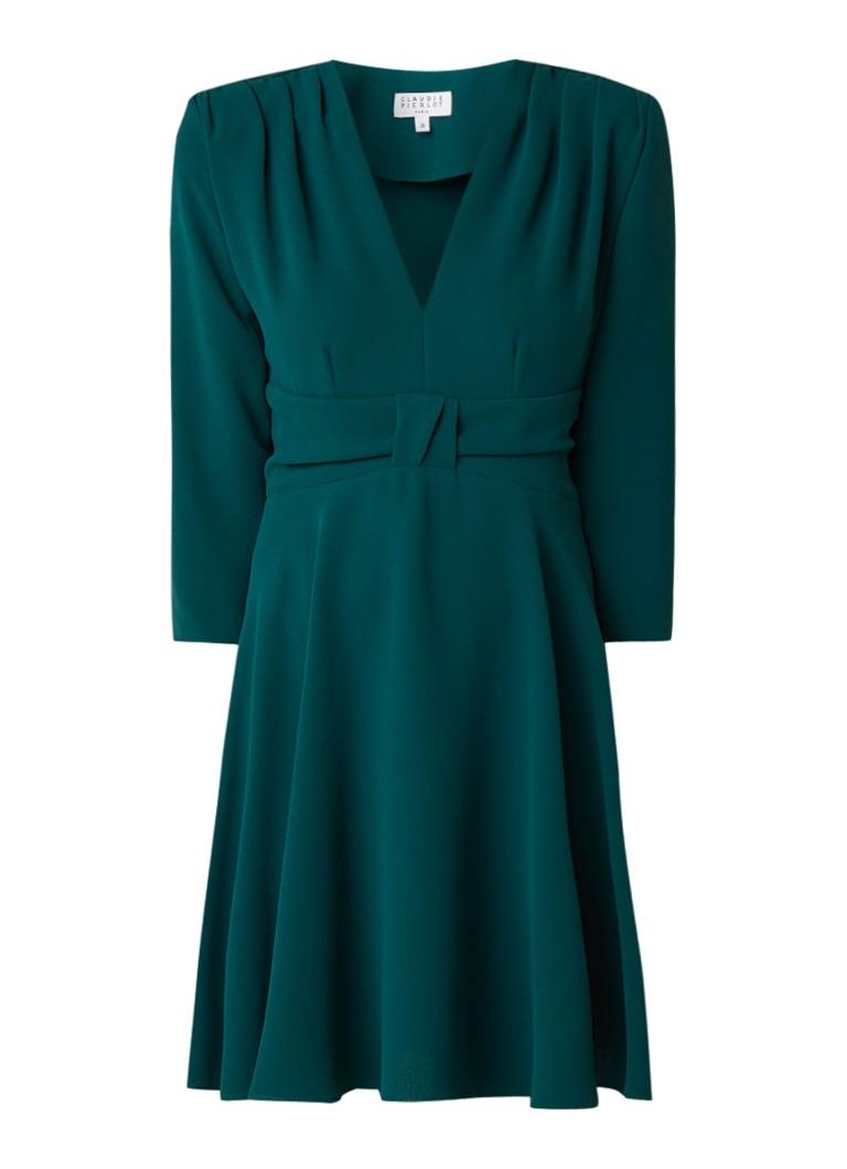 Claudie Pierlot Raina A-lijn jurk van crêpe met strikdetail groen