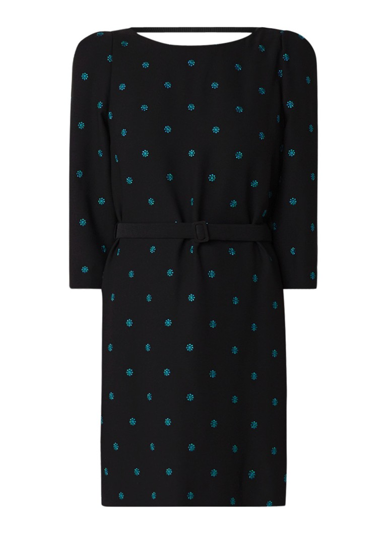 Claudie Pierlot Ricin mini-jurk van crêpe met borduring en ceintuur zwart