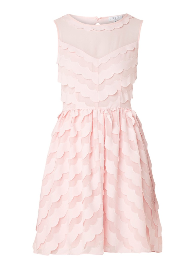 Claudie Pierlot Rasberry mini-jurk met geschulpte bies en rugdecolleté lichtroze