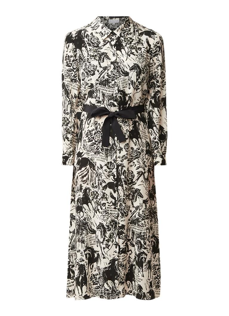 Claudie Pierlot Rivera blousejurk van zijde met dessin ivoor