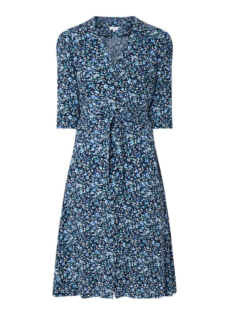 Claudie Pierlot Response blousejurk met bloemendessin en strikceintuur donkerblauw
