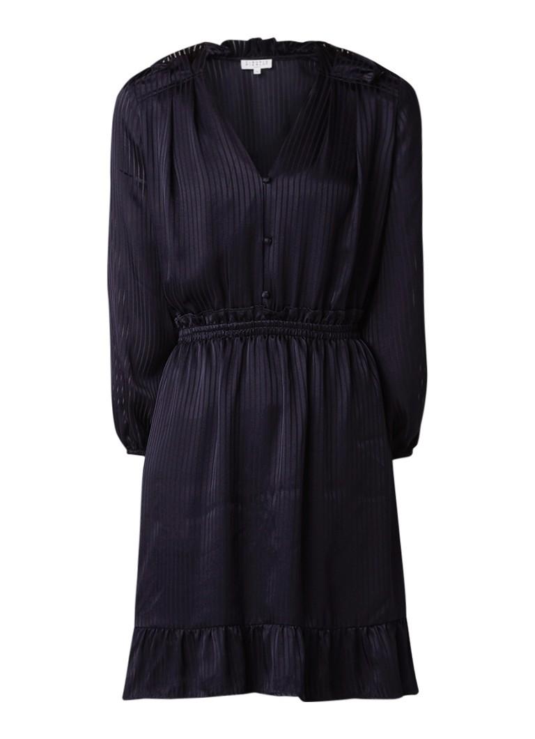 Claudie Pierlot Rosana A-lijn jurk van satijn met streepdessin donkerblauw