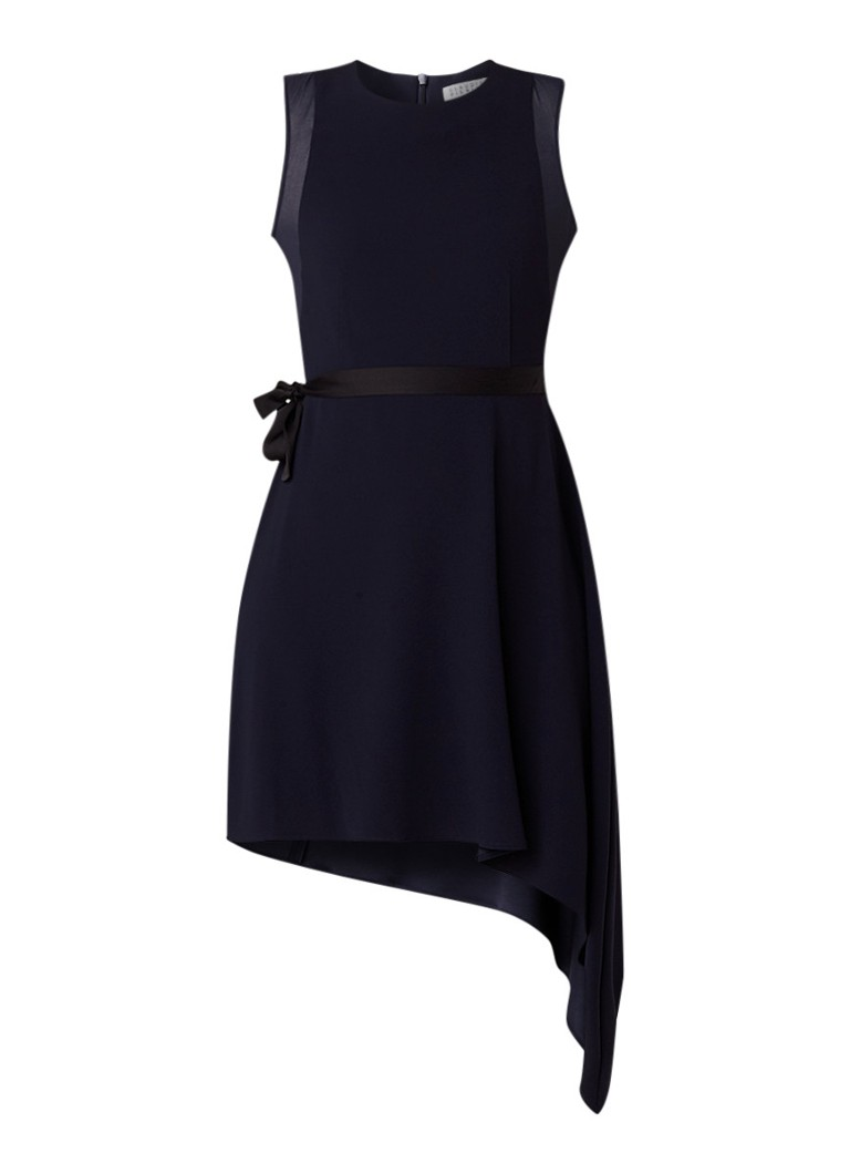 Claudie Pierlot Rasalia mini-jurk met strikceintuur en asymmetrische zoom donkerblauw