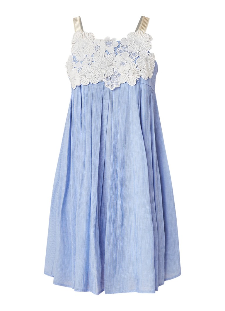 Claudie Pierlot Ramdam mini-jurk met detail van kant lichtblauw