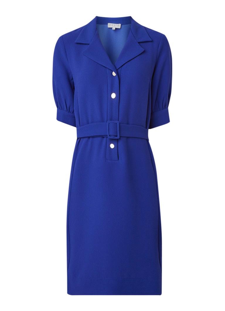 Claudie Pierlot Rosea blousejurk van crêpe met ceintuur kobaltblauw