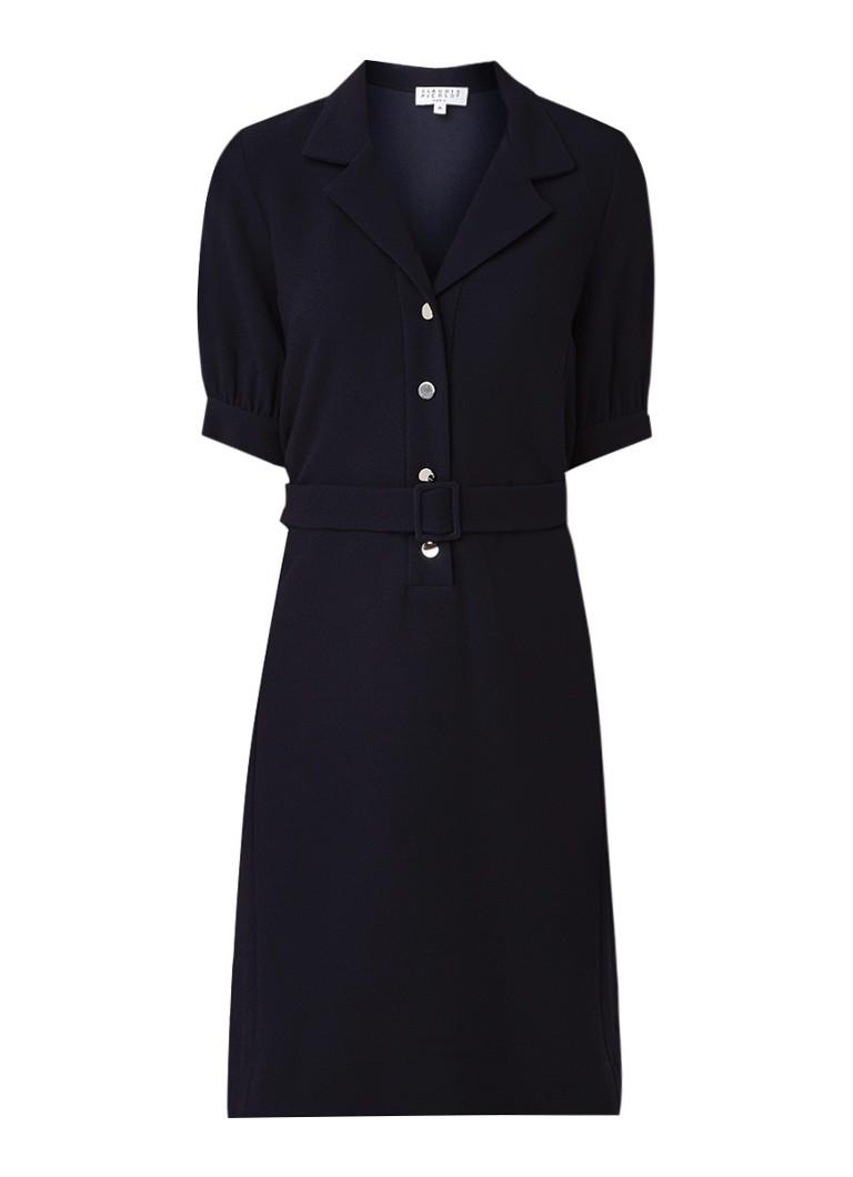 Claudie Pierlot Rosea blousejurk van crêpe met ceintuur donkerblauw