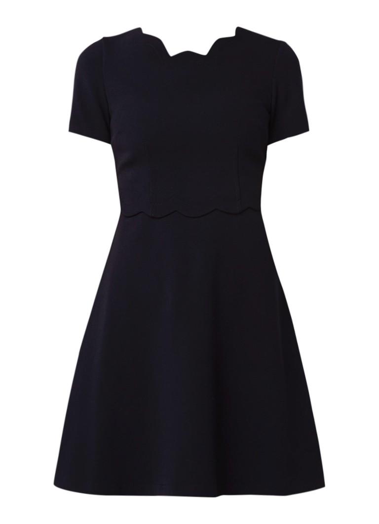 Claudie Pierlot Remi Ecarlate A-lijn jurk van crêpe met rugdecolleté donkerblauw
