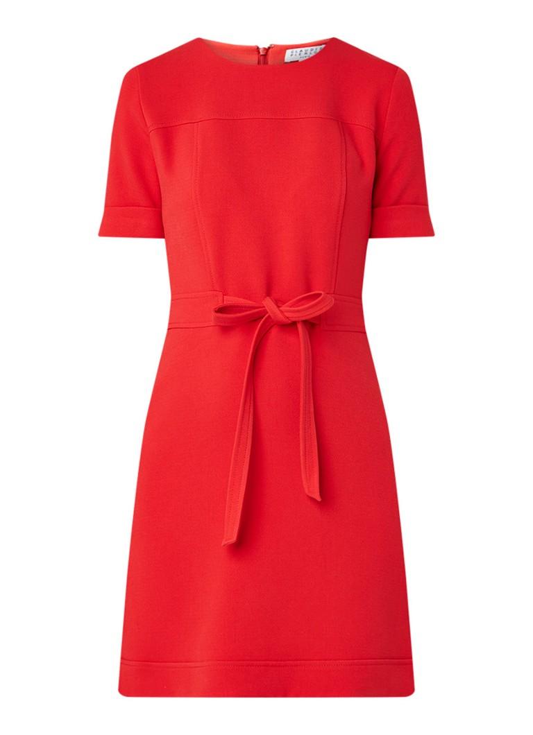 Claudie Pierlot Reya A-lijn jurk met strikceintuur rood