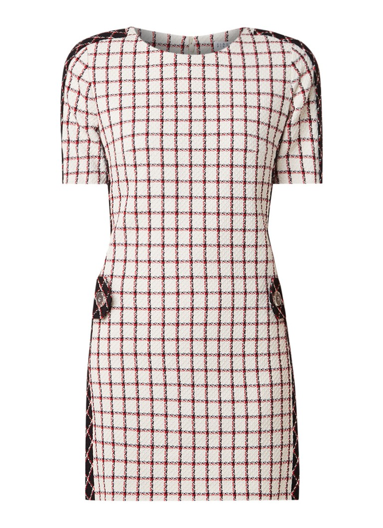 Claudie Pierlot Royaume jurk met pied-de-poule dessin gebroken wit