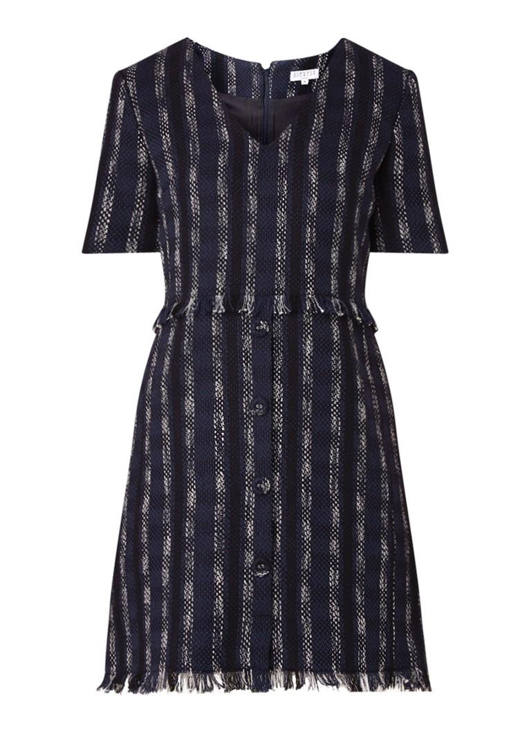Claudie Pierlot Reflexe tuniekjurk van tweed met knoopdetails donkerblauw