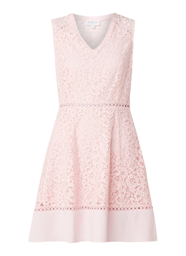 Claudie Pierlot Rikki A-lijn jurk van kant lichtroze