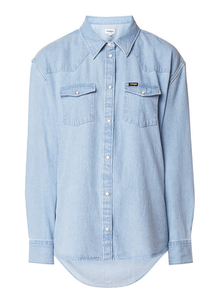 Wrangler Western blouse van denim met logoprint op achterzijde